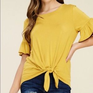 Mustard • Blouse • With Tie Front